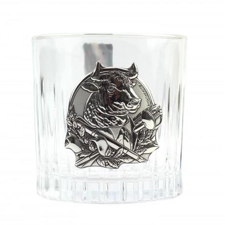 """Сет для виски Boss Crystal """"ГОД БЫКА"""" графин, 4 стакана, серебро"""