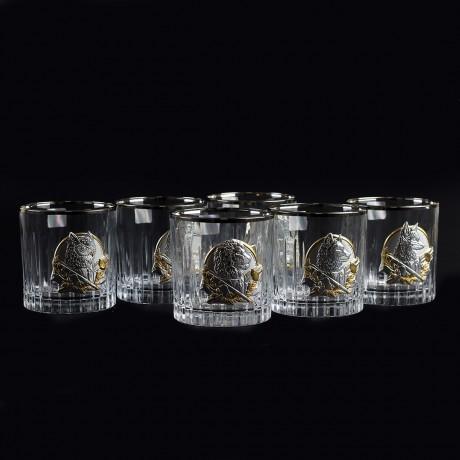 """Сет хрустальных стаканов Boss Crystal """"БОКАЛЫ ЛИДЕР ПЛАТИНУМ"""", 6 бокалов, платина, серебро, золото"""