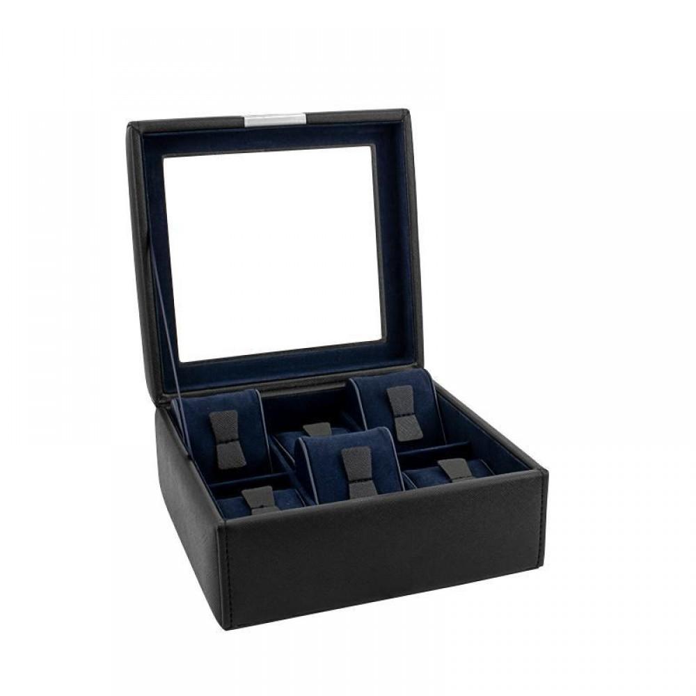 Шкатулка для часов Friedrich Lederwaren «Bond» на 6 часов, черная
