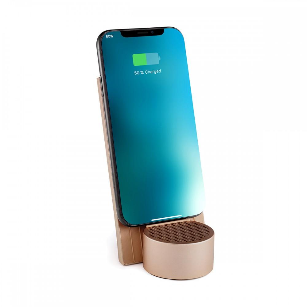 Беспроводное зарядное устройство с динамиком на 3 Вт LEXON, золотой
