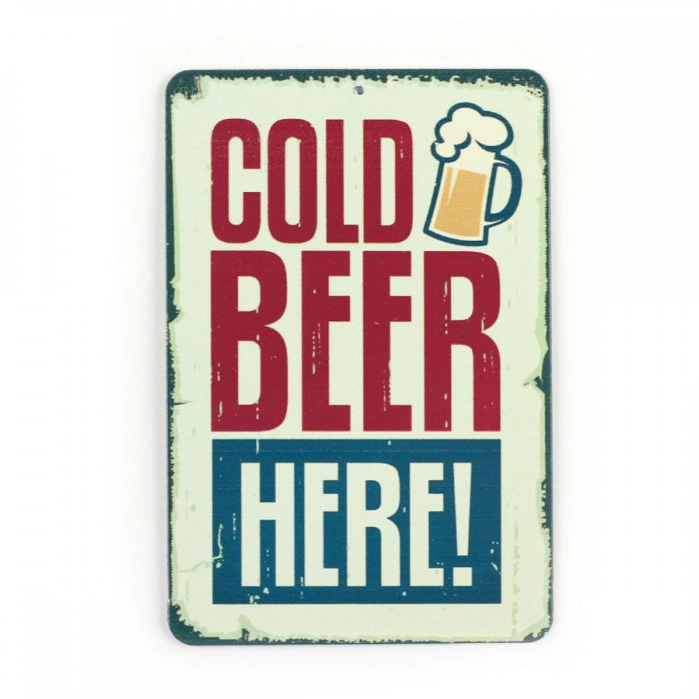 Магнит винтаж Cold beer here, металл, 10 х 8 см