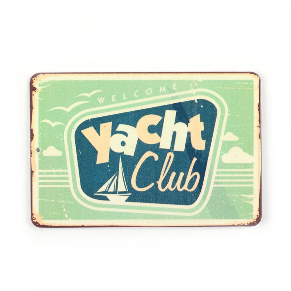 Магнит винтаж Yacht club, металл, 10 х 8 см