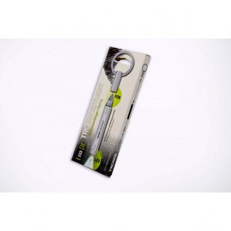 Фонарь-брелок с шариковой ручкой Troika Keylight, металл, серебристый