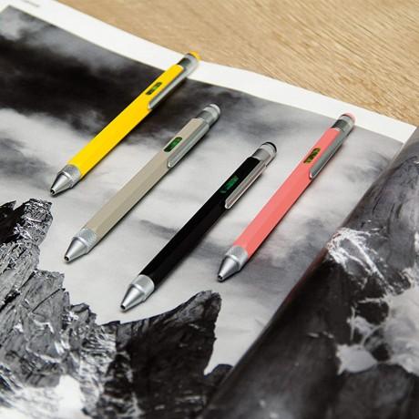 Ручка шариковая Troika Construction со стилусом, линейкой, отверткой и уровнем, кораловая