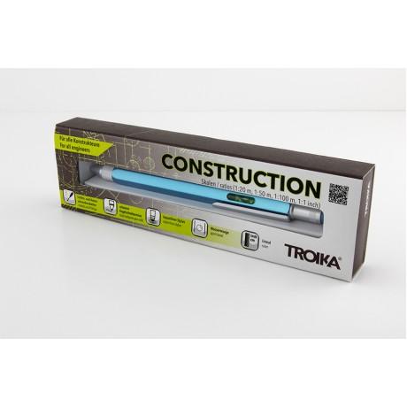 Ручка шариковая-стилус Troika Construction с линейкой, бирюза