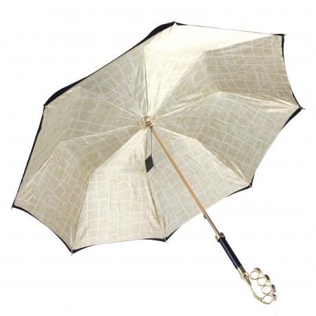 Зонт женский двойной с ручкой в виде кастета, Gold