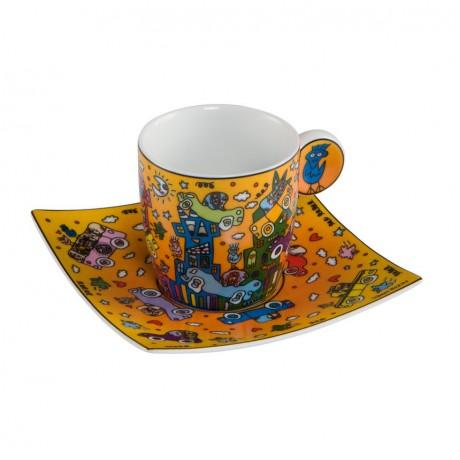 Чашка с блюдцем Goebel «Не объехать» Джеймс Рицци,квадратное блюдце