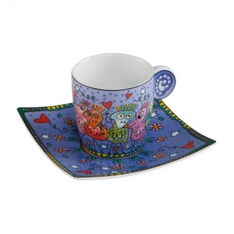 Чашка с блюдцем Goebel «Прекрасные птицы» Джеймс Рицци