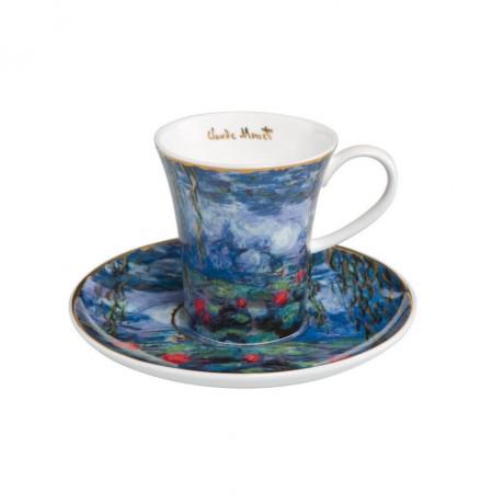 Набор чашка с блюдцем Goebel «Waterlilies with Willow» Клод Моне 8см; 100 мл
