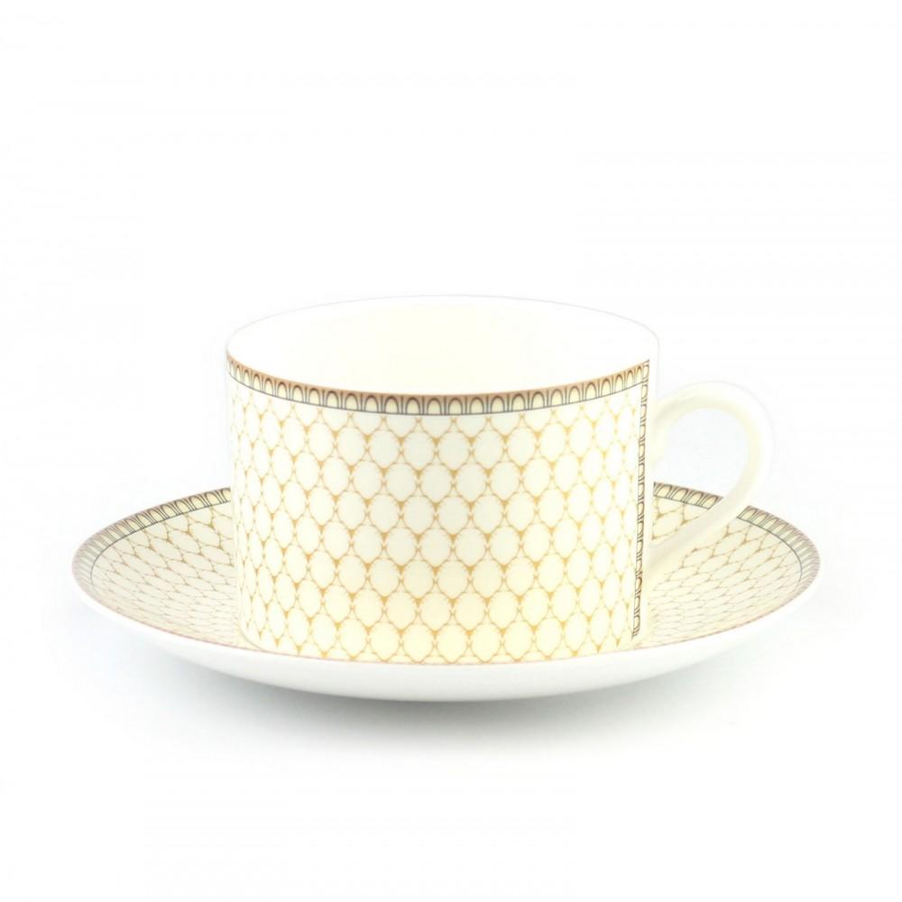 Чашка чайная с блюдцем Halcyon Days «Antler Trellis Ivory»