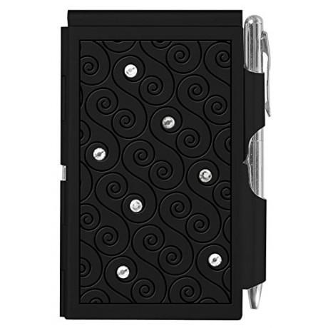 Карманный блокнот с ручкой Troika Glitz Black