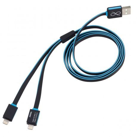 Зарядный кабель Troika Apple lighting для двух устройств, синий