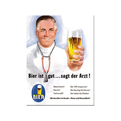 Магнит 8x6 см Bier und Spirituosen ist gut. sagt der Arzt Nostalgic Art (14114)