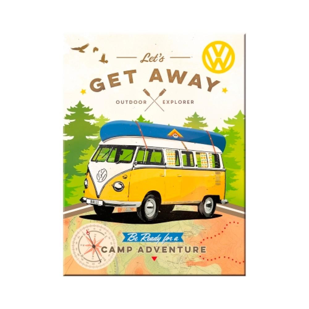 Магнит 8x6 см Volkswagen - VW Bulli - Let's Get Away! Nostalgic Art (14330)