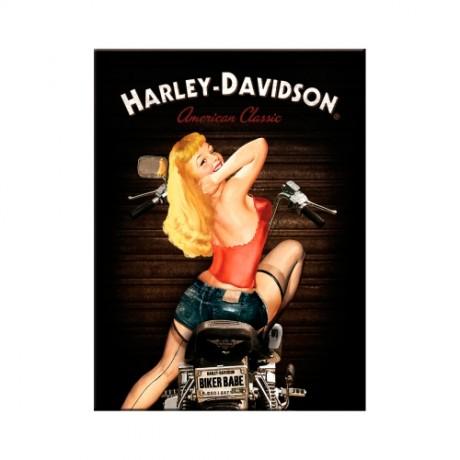 Магнит 8x6 см Harley-Davidson Biker Babe Nostalgic Art (14333)