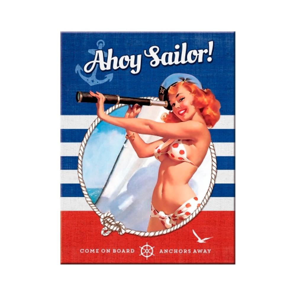 Магнит 8x6 см Pin Up - Ahoy Sailor Nostalgic Art (14337)