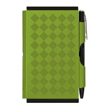Карманный блокнот Troika с ручкой Diamond, зеленый