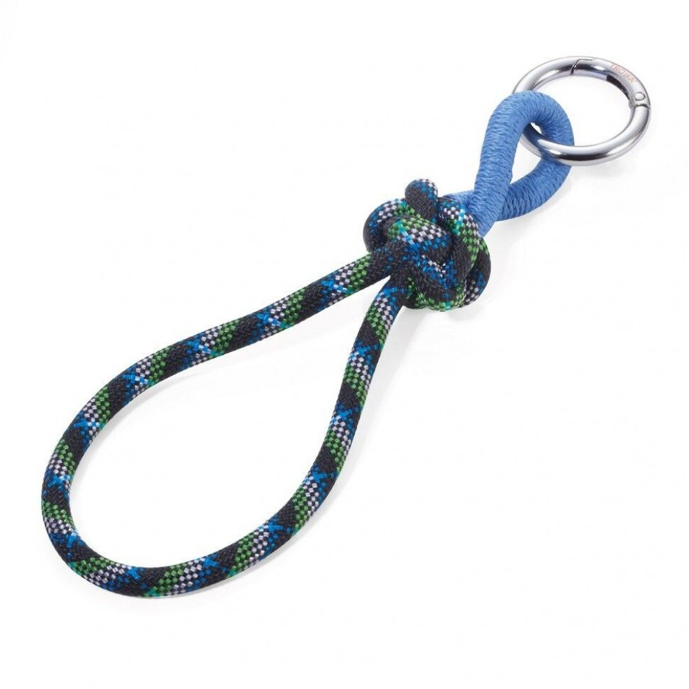 Кольцо для ключей с веревкой и узлом Troika, сине-зеленый