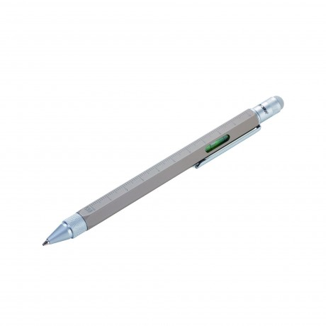 Ручка шариковая Troika Construction со стилусом, линейкой, отверткой и уровнем, серый